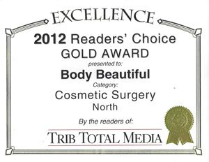 2012 Readers Choice Gold Award Cosmetic Surgery, Awards and Community Service