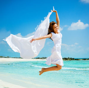 Woman happy laser hair removal treatment