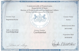 Pam department of state Registered Nurse Certification