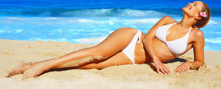 Woman on beach Laser Menu Services