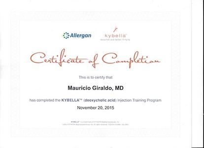 Allergan Kybella Certificate Mauricio Giraldo MD
