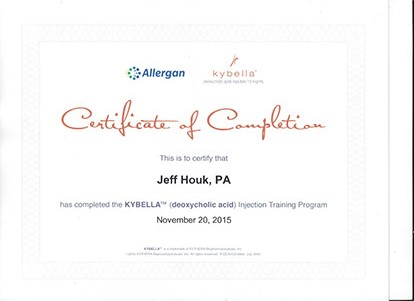 Allergan Kybella Certificate Jeff Houk physician