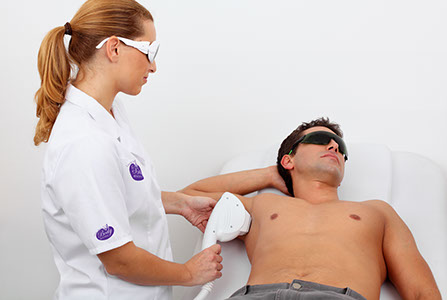 body beautiful performs laser hair removal men's underarms