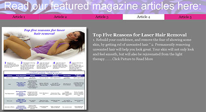 read our featured magazine article about laser hair removal