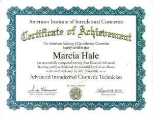 Marcia Hale certificate of achievement american institute of intradermal cosmetics