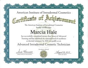 Marcia Hale certificate of achievement american institute of intradermal cosmetics