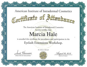 Marcia Hale American Institute-of-intradermal-cosmetics-eyelash extensions workshop