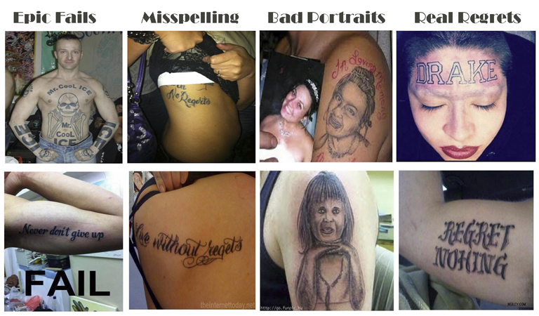 Epic fails tattoo removal bad tattoo, tattoo removal works, free consultation, best technology, unwanted tattoo, regret, Important Tattoo Facts, professional, experienced, internationally trained, certified laser technicians, educated, unsightly tattoo, best results, cover up, Total Removal,
