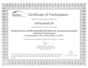Jeff Houk Pa Cert Botox Juvederm dermal fillers facial enhancement advanced techniques