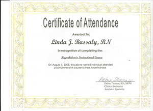 RN certificate of attendance hyperhidrasis instructional course