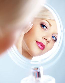 Permanent cosmetics looking into mirror, acne scar, acne Treatment, blackheads, blemish, breakout