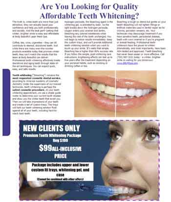 Professional Cosmetic Teeth Whitening Service article, Pittsburgh teeth whitening treatment