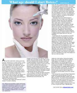 Ultrasound facials article, what age should I start botox